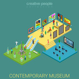 Fototapety Contemporary art museum interior floors flat 3d isometric vector