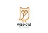 Funny Owl Logo design vector linear. Bird Fun Line-art icon