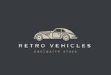 Retro Car abstract Logo design. Vintage Vehicle Logotype icon