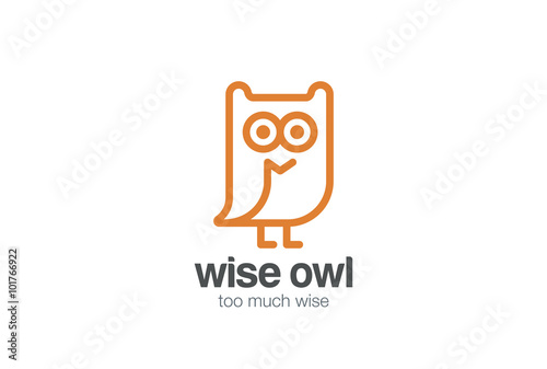 Fotobehang Uilen cartoon Funny Owl Logo design vector linear. Bird Fun Line-art icon