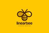 Bee Logo design vector linear style. Creative Hive Logotype