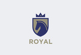 Royal Horse on Shield with Crown Logo. Equestrian emblem vintage