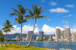 Waikiki beach resort and marina in Honolulu, Hawaii, USA. Scenic view of the Waikiki resort and marina with tall palms.