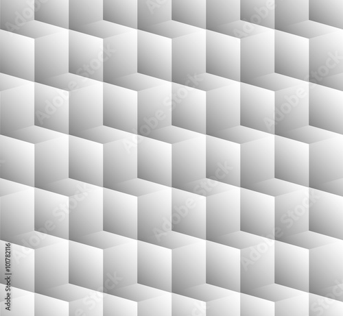 3D cubes spatial seamlessly repeatable monochrome pattern - 101782116