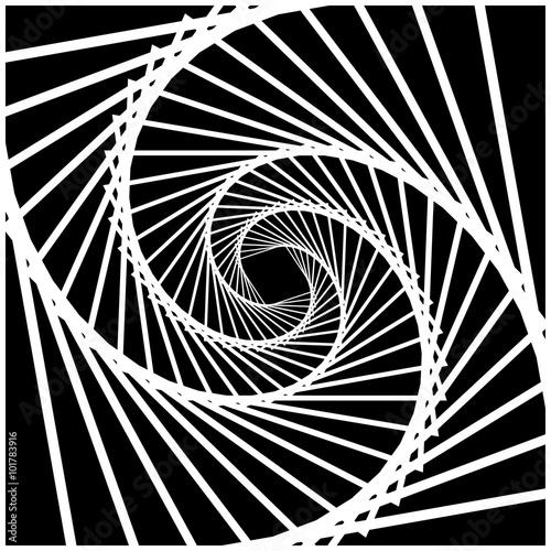 Naklejka Inward rotating, spirally squares abstract monochrome background