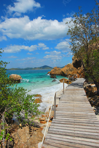obraz PCV Woodbridge, walkway beside the sea, sight seeing, Koh Kham, Cholburi, Thiland
