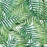 Akwarela tropikalnych liści palmowych pozostawia bezszwowych wzór. Ilustracji wektorowych.