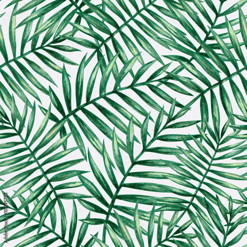 Watercolor tropical palm leaves seamless pattern. Vector illustration. - 101795735