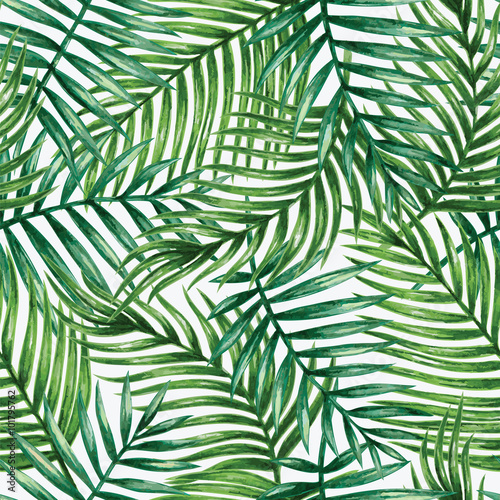 obraz PCV Watercolor tropical palm leaves seamless pattern. Vector illustration.