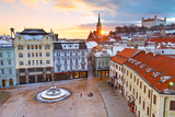 View of the main square and the old town from the tower of the city hall, Bratislava, Slovakia.