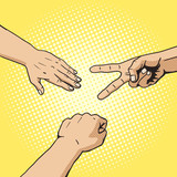 Fototapety Rock paper scissors hand game pop art style vector