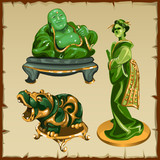 Figures from malachite Buddha, geisha and animal