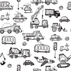 Baby cars seamless pattern. Hand drawn doodle elements background. Funny cars for baby textile, wallpaper, gifts.