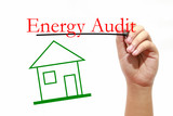 Energy Audit - House with text and male hand with pen