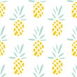 Pineapples on the white background. Vector seamless pattern with tropical fruit. - 101826165