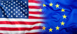 EU and USA. Euro flag and USA flag.