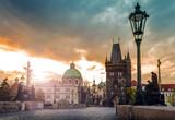 Prague, Charles Bridge at dawn, Czech Republic - 101827548