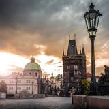 Prague, Charles Bridge at dawn, Czech Republic - 101827555
