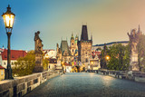 Prague, Charles Bridge at dawn, Czech Republic - 101827569