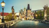 Prague, Charles Bridge at dawn, Czech Republic - 101827582