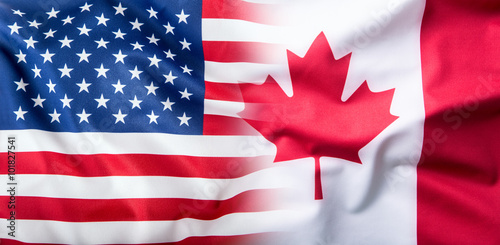 Poster Canada USA and Canada. USA flag and Canada flag