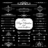 Page dividers and ornate headpieces isolated on black background