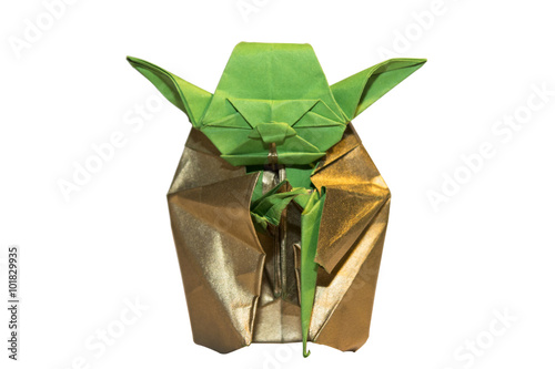 Poster Origami Yoda jedi isolated on white