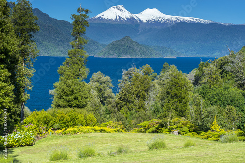 Riñihue lake and Mocho-Choshuenco national reserve as background (Chile)