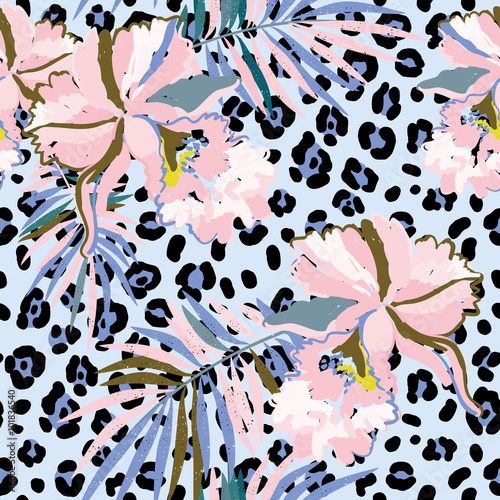 Pink orchid flowers with palm leaves on the leopard skin background. Vector seamless pattern with tropical plants and animal print. Serenity and pink.
