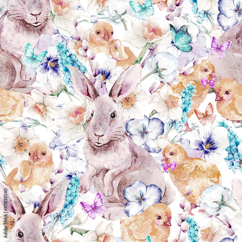Cotton fabric Vintage Happy Easter seamless pattern