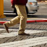 Cropped image of man crossing the road, Las Vegas, Nevada