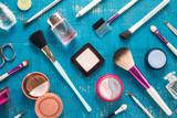 Fototapety Cosmetics set on blue background