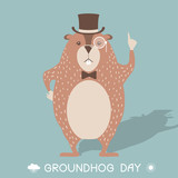 Happy Groundhog day card illustration