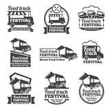 Fototapety Food truck festival emblems and logos vector set. Festival street food, badge food festival, emblem food truck illustration