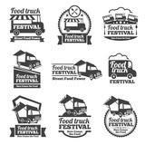 Food truck festival emblems and logos vector set. Festival street food, badge food festival, emblem food truck illustration