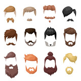 Fototapety Hairstyles beard and hair face cut mask flat cartoon collection