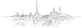 PARIS city panoramic sketch