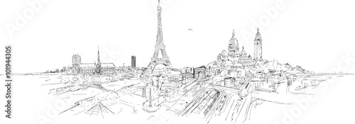 PARIS city panoramic sketch