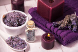 Fototapety Lavender flower spa, bath salts, purple candles and purple towel