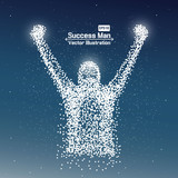 Abstract successful man from dot