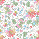 Vector flower seamless pattern. Doodle floral background.