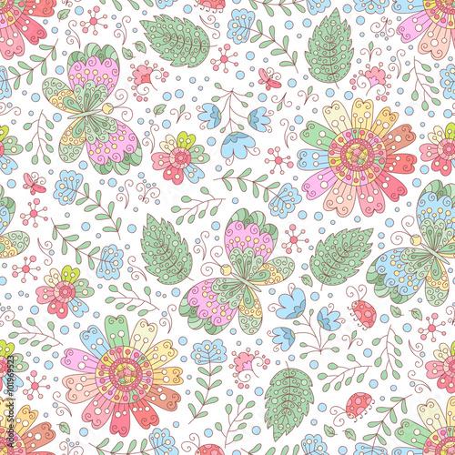 Fototapeta Vector flower seamless pattern. Doodle floral background.