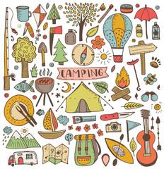 Camping doodle set