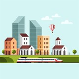 Cityscape. Urban landscape and city life. Vector illustration.