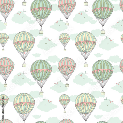 Background with hot air balloons - 101984182