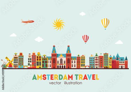 Amsterdam skyline. Vector illustration