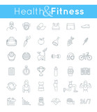 Fototapety Fitness gym and healthy lifestyle flat thin line vector icons. Diet nutrition, shaping workout, fitness gear, personal trainer, sport clothes infographic elements. Exercises for female body muscles