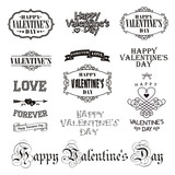 Vector photo overlays, hand drawn lettering collection, inspirational quote. Valentine day labels set. Calligraphy postcard or poster graphic design lettering element. Best for gift card, brochure