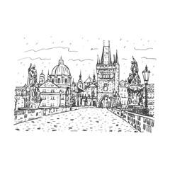 View from Charles Bridge, Prague, Czech Republic. Vector hand drawn sketch.