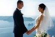 Newlywed husband and wife hugging sea background closeup, Santor